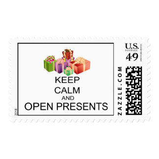 Keep Calm And Open Presents Postage