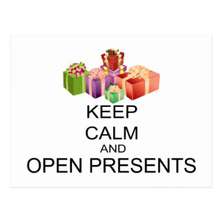 Keep Calm And Open Presents Postcard
