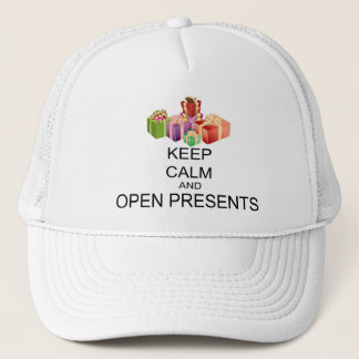 Keep Calm And Open Presents Trucker Hat