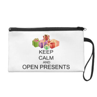 Keep Calm And Open Presents Wristlet Purse
