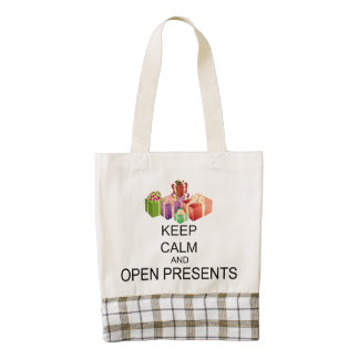 Keep Calm And Open Presents Zazzle HEART Tote Bag