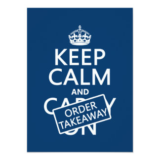 Keep Calm and Order Takeaway (in any colour) Card