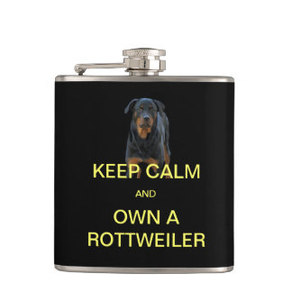 Keep Calm And Own A Rottweiler Flask