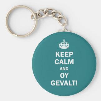 """""""Keep Calm and Oy Gevalt!"""" Basic Round Button Keychain"""