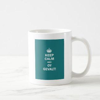 """Keep Calm and Oy Gevalt!"" Classic White Coffee Mug"