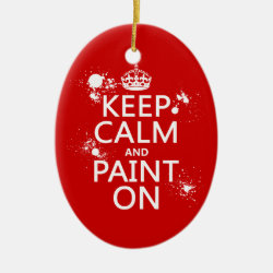 Oval Ornament with Keep Calm and Paint On design