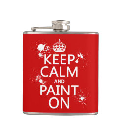 Vinyl Wrapped Flask, 6 oz. with Keep Calm and Paint On design