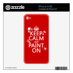 iPhone 4/4S Skin with Keep Calm and Paint On design