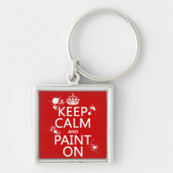Premium Square Keychain with Keep Calm and Paint On design