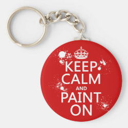 Basic Button Keychain with Keep Calm and Paint On design