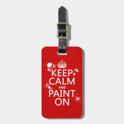 Small Luggage Tag with leather strap with Keep Calm and Paint On design