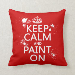 Cotton Throw Pillow with Keep Calm and Paint On design