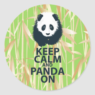 Keep Calm and Panda On Original Design Print Gift Classic Round Sticker