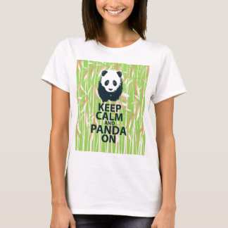 Keep Calm and Panda On Unique Design Print Bamboo T-Shirt
