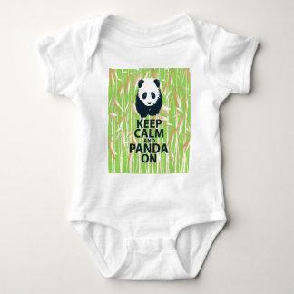 Keep Calm and Panda On Unique Design Print Bamboo Tee Shirt