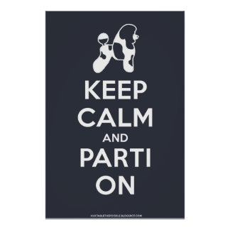 Keep Calm and Parti On Poster (Blue)