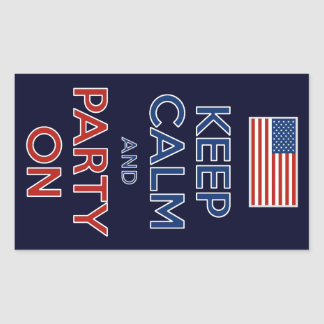 Keep Calm And Party On 4th Of July Party Stickers