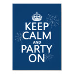 Keep Calm and Party On - all colors 5.5x7.5 Paper Invitation Card