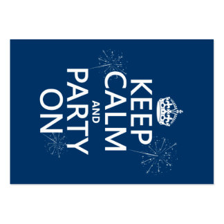 Keep Calm and Party On - all colors Large Business Cards (Pack Of 100)