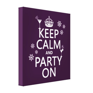 Keep Calm and Party On - all colors Canvas Print