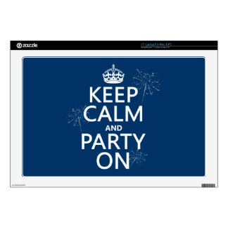 Keep Calm and Party On - all colors Decals For Laptops