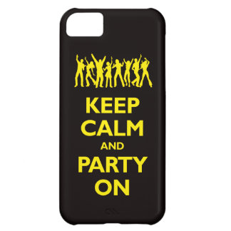 Keep Calm and Party On (black and yellow) iPhone 5C Cover