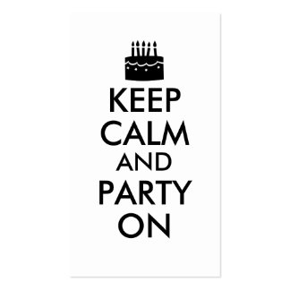 Keep Calm and Party On Cake Customizable Double-Sided Standard Business Cards (Pack Of 100)