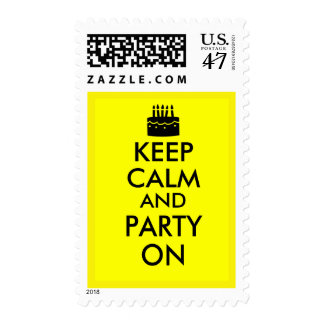 Keep Calm and Party On Cake Customizable Postage