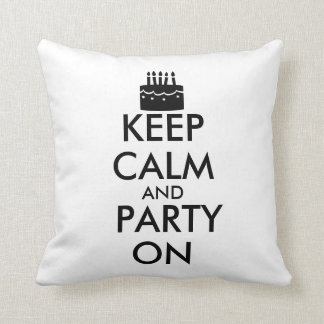 Keep Calm and Party On Cake Customizable Throw Pillow