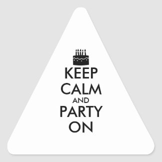 Keep Calm and Party On Cake Customizable Triangle Sticker