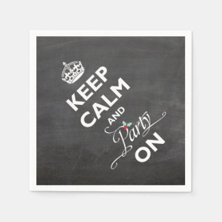Keep Calm And Party On Chalkboard Funny Holiday Paper Napkin