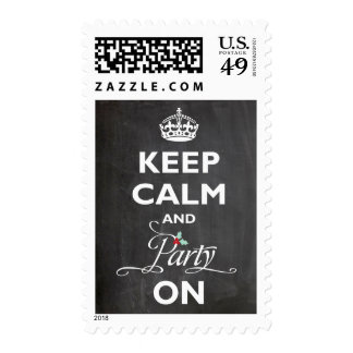 Keep Calm and Party On Chalkboard Holiday Stamps