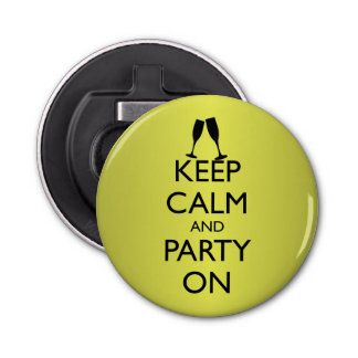 KEEP CALM AND PARTY ON, CHAMPAGNE BUTTON BOTTLE OPENER