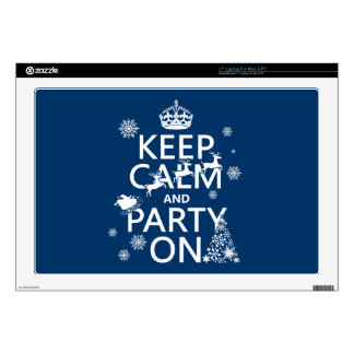 "Keep Calm and Party On (Christmas)(any color) Decals For 17"" Laptops"