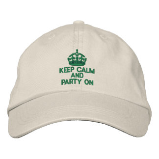 KEEP CALM AND PARTY ON Classic Embroidered Baseball Caps