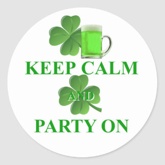 keep calm and party on classic round sticker