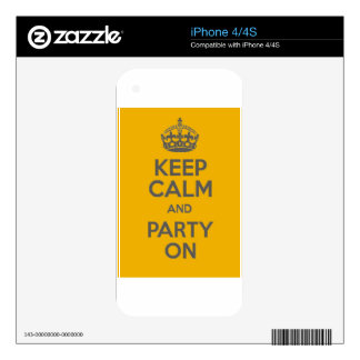 Keep Calm and Party On Decals For The iPhone 4S