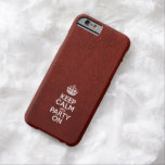 Keep Calm and Party On - Glossy Red Leather Barely There iPhone 6 Case