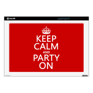 "Keep Calm and Party On (in any color) Decal For 17"" Laptop"