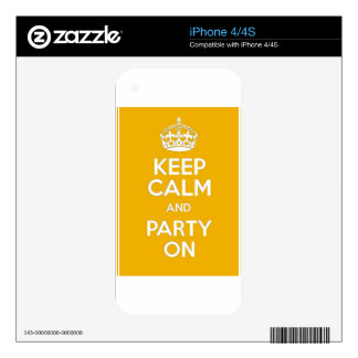 Keep Calm and Party On iPhone 4 Decal