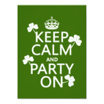 Keep Calm and Party On (irish) (any color) Card