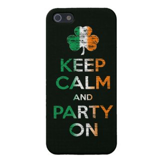 Keep Calm And Party On Irish Flag Shamrock Cases For iPhone 5