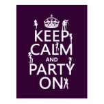 Keep Calm and Party On (party girls) (all colors) Postcard