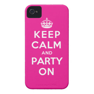 Keep Calm and Party On - Pink iPhone 4 Cases
