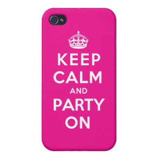 Keep Calm and Party On - Pink Case For iPhone 4