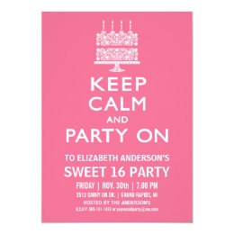 Funny 16th birthday invitations announcements zazzle keep calm and party on sweet sixteen birthday card bookmarktalkfo Choice Image