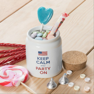 Keep Calm And Party On U.S. Flag 4th Of July Candy Jars