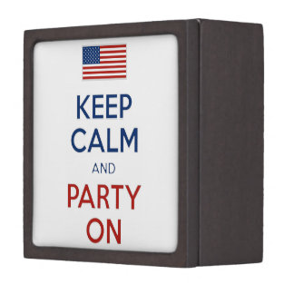 Keep Calm And Party On U.S. Flag 4th Of July Gift Box