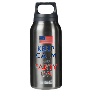 Keep Calm And Party On U.S. Flag 4th Of July Insulated Water Bottle