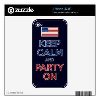 Keep Calm And Party On U.S. Flag 4th Of July Skin For iPhone 4S